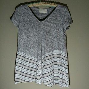 Anthro Puella Heather gray chevron stripes